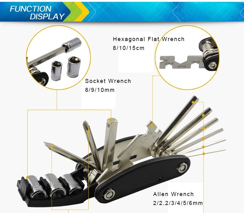 Multifunction 16in1 Bike Repair Tool Kit